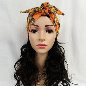 African Print Ankara Wax Head Tie Bow Scarf